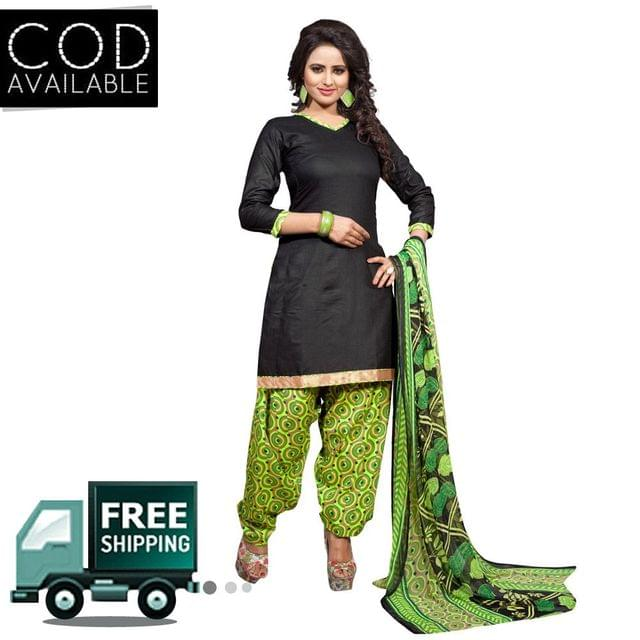 Ethnic Basket Black Glace Cotton Printed Dress Material