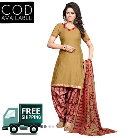 Ethnic Basket Beige Glace Cotton Printed Dress Material