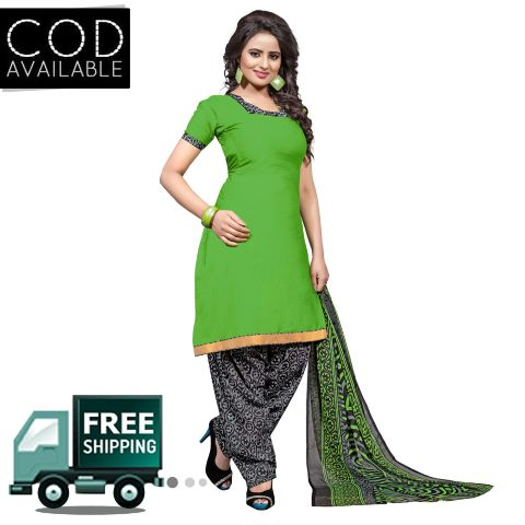 Ethnic Basket Green Glace Cotton Printed Dress Material