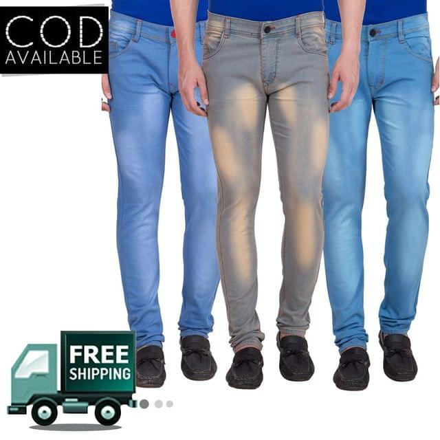 American-Elm Pack of 3 Men's Slim Fit Stretchable Jeans