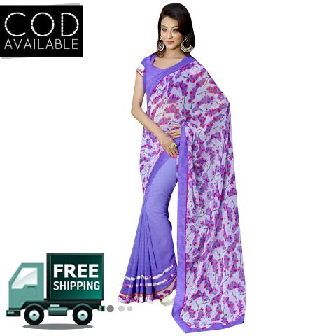 Swaraaa Blue Georgette Printed Saree With Bhagalpuri Blouse Piece