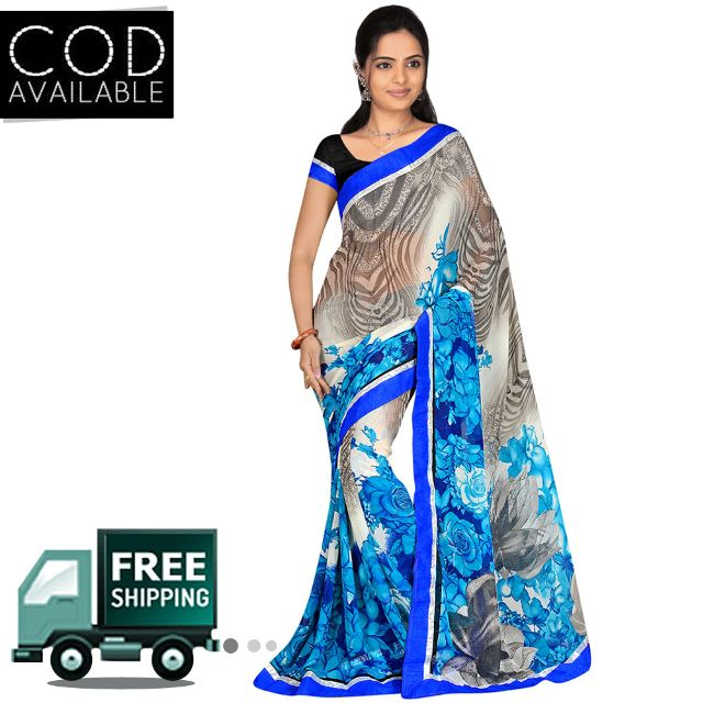 Swaraaa Blue Royal Georgette Saree With Blouse Piece