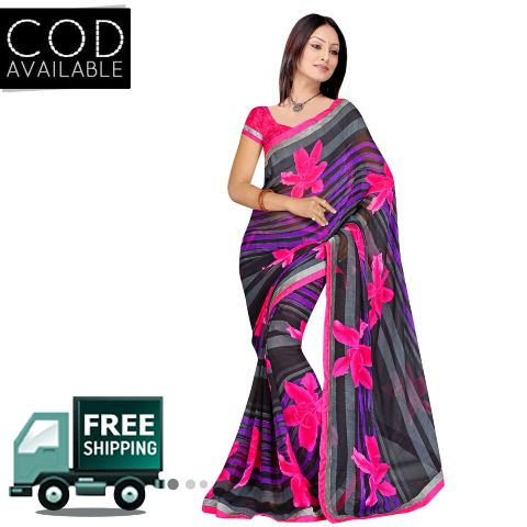 Swaraaa Black Royal Georgette Saree With Blouse Piece
