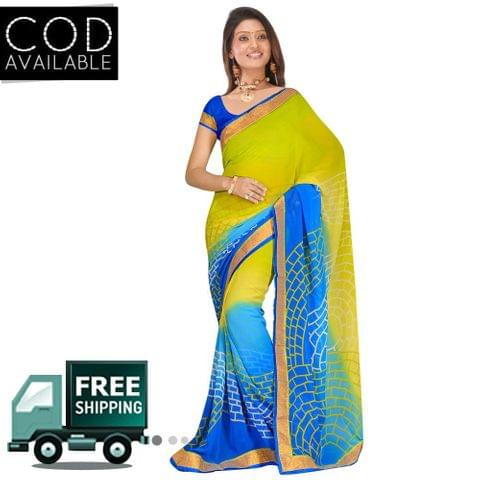 Swaraaa Green Georgette Printed Saree With Blouse Piece