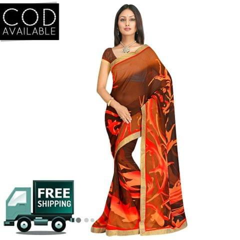 Swaraaa Brown Georgette Printed Saree With Blouse Piece