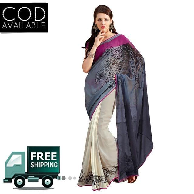 Swaraaa Grey Georgette Printed Saree With Blouse Piece