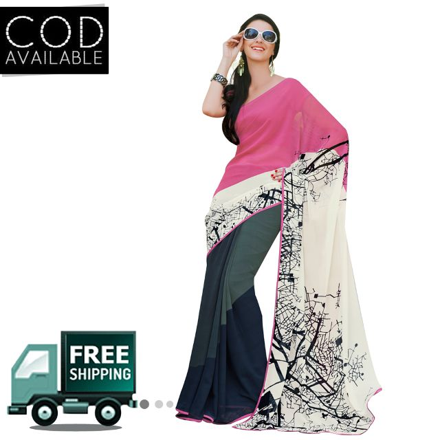 Swaraaa White Georgette Printed Saree With Blouse Piece