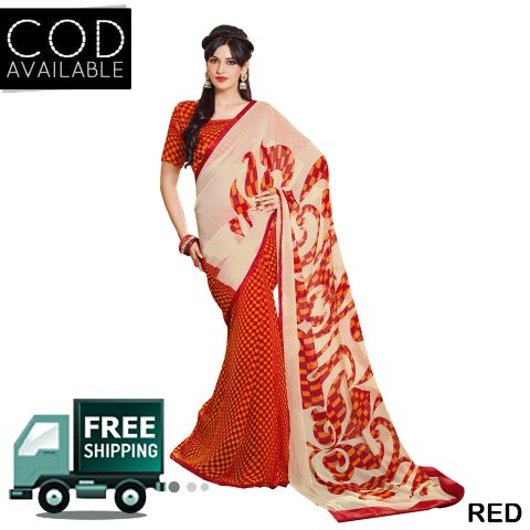 Swaraaa Georgette Printed Saree With Blouse Piece