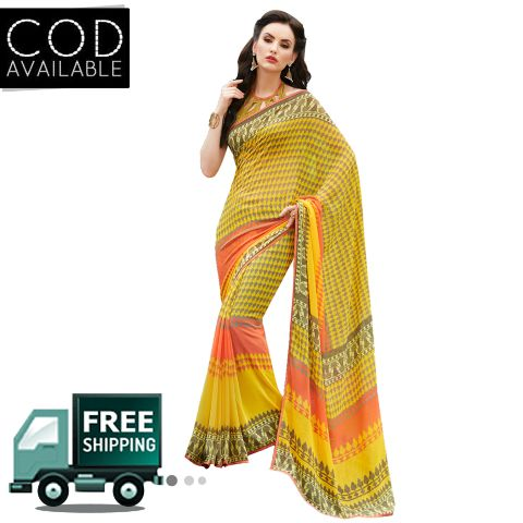 Swaraaa Yellow Georgette Printed Saree With Blouse Piece