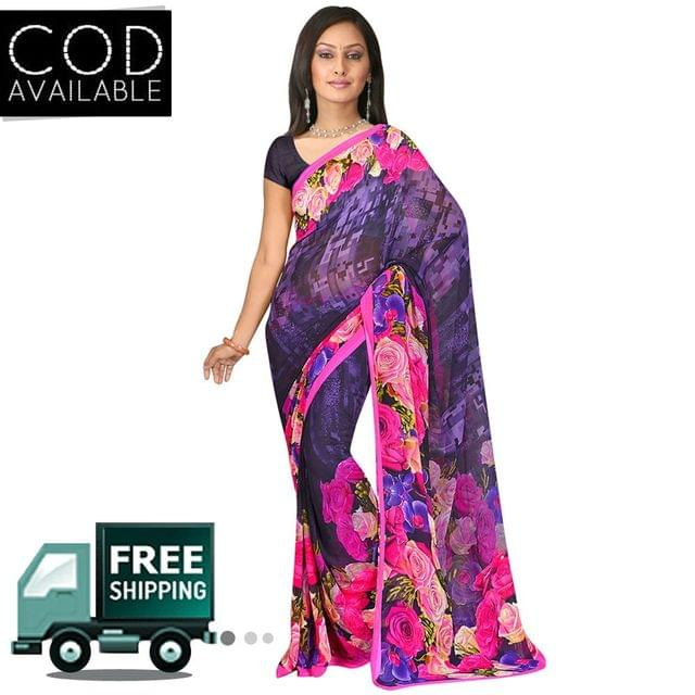 Swaraaa Blue Weightless Georgette Printed Saree With Blouse Piece