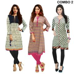 Eye Catching Cotton Combo Of 3 Designer Kurti