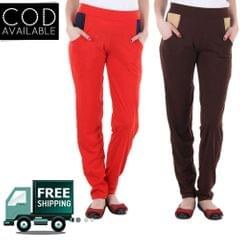 SLS Combo Of 2 Women's Solid Multicolor Track Pant
