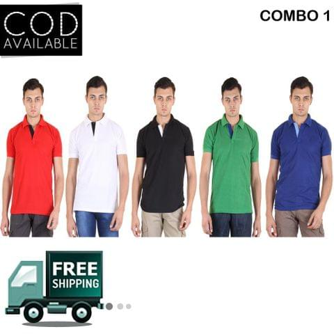SLS Pack of 5 Multicolor Polo Neck T-Shirts For Men