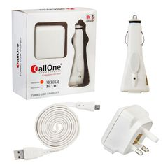 CallOne Turbo Charger 3 in 1 Set Micro USB Accessory Combo(White)