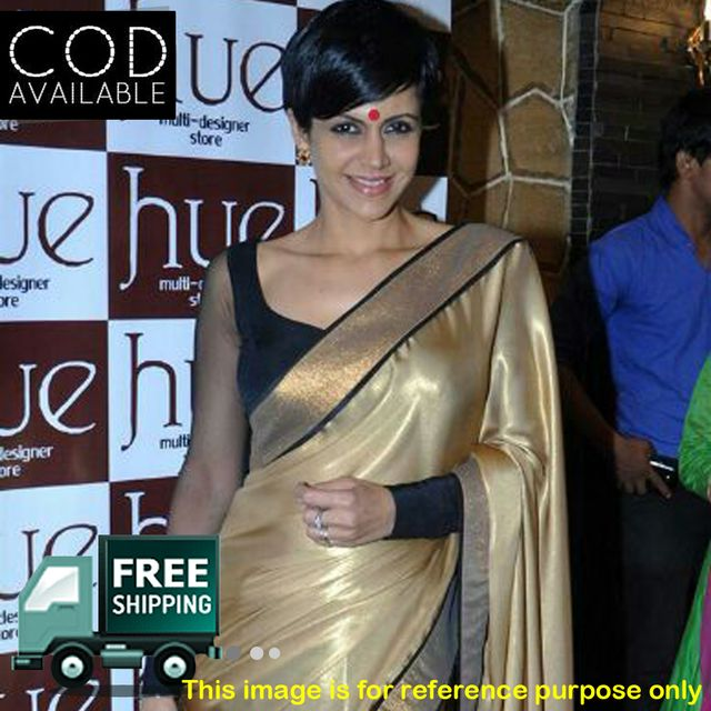 Mandira Bedi Golden & Black Half Half Saree By Vamika