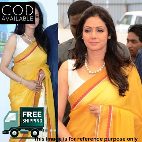Sridevi Yellow & White Half Half Saree By Vamika