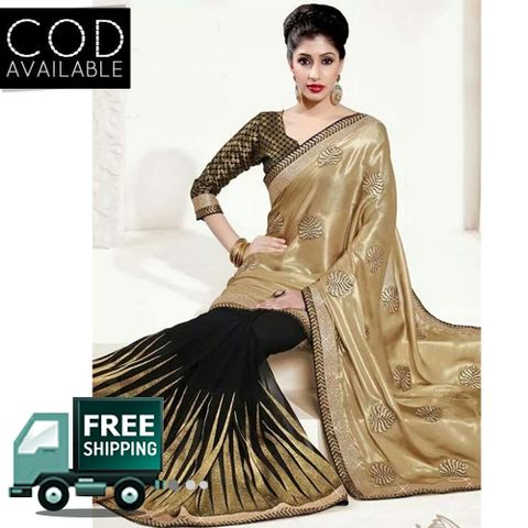 Bollywood Style Golden & Black Half Half Georgette Saree By Vamika