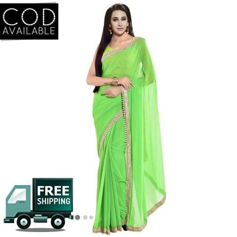 Karishma Kapoor Parrot Green Georgette Moti Work Saree By Vamika