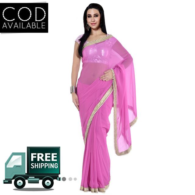 Karishma Kapoor Light Pink Georgette Moti Work Saree By Vamika