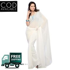 Vamika White Faux Georgette Saree