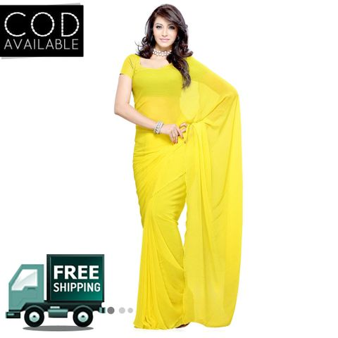 Vamika Yellow Faux Georgette Saree
