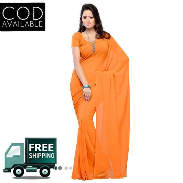 Vamika Orange Faux Georgette Saree