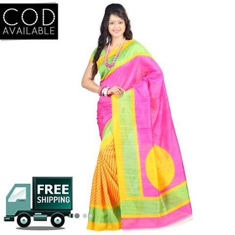 Vamika Pink & Yellow Bhagalpuri Silk Saree