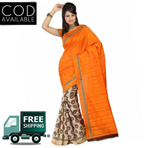Vamika Orange & Beige Bhaglpuri Silk Saree