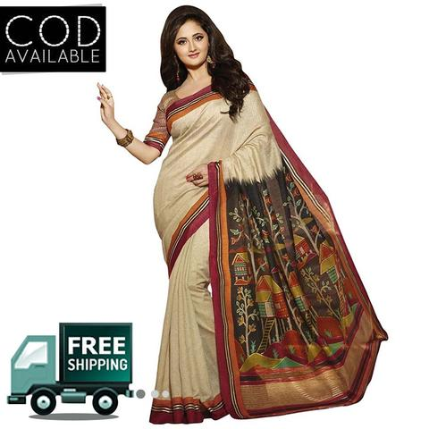 Rashmi Desai Cream Bhagalpuri Silk Saree By Vamika