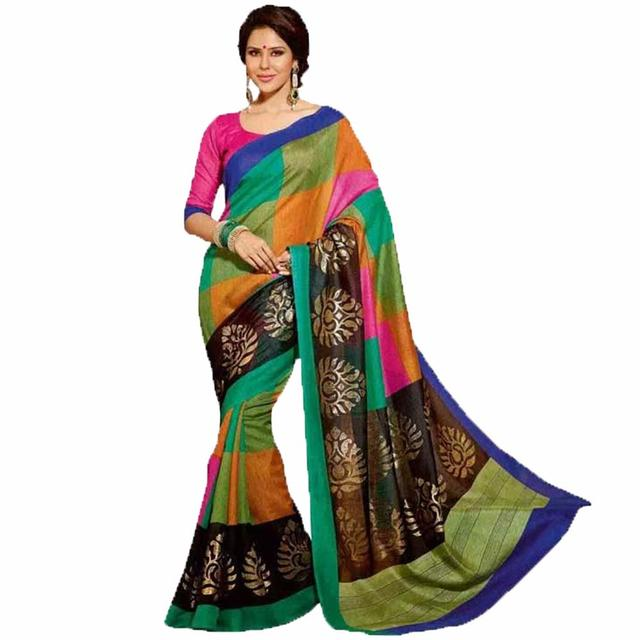 Jennifer Winget Multicolor Bhaglpuri Silk Saree By Vamika