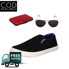 Delux Look Branded Men's Black Casual Shoes With Aluma Wallets & Sunglasses Free