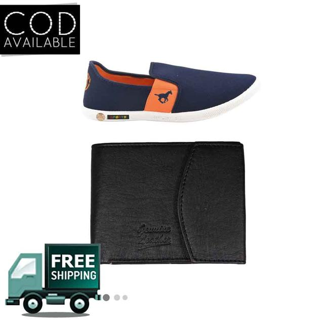 Delux Look Branded Men's Orange Casual Shoes & Leather Wallet Free