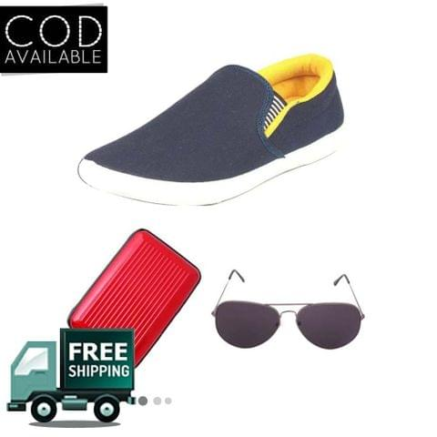 Delux Look Branded Men's Yellow Casual Shoes With Aluma Wallets & Sunglasses Free