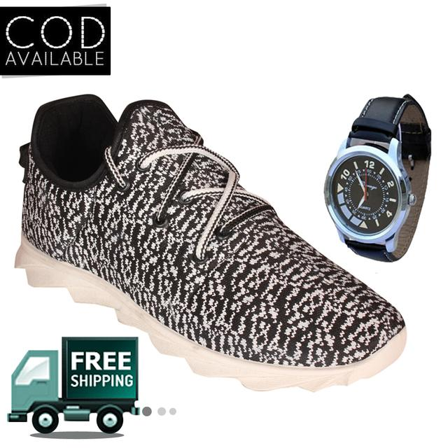 Delux Look Branded Men's White Casual Shoes With Watch Free