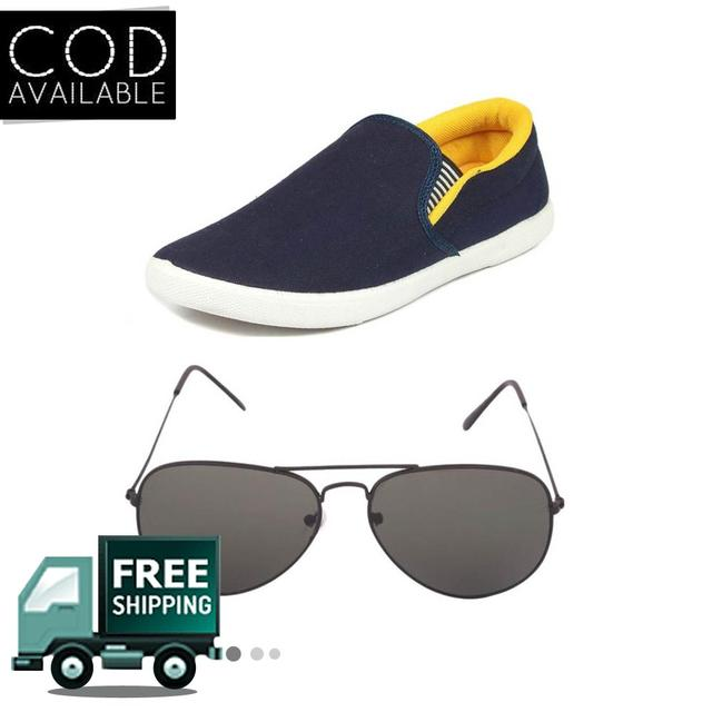 Delux Look Branded Men's Yellow Casual Shoes With Branded Google Free