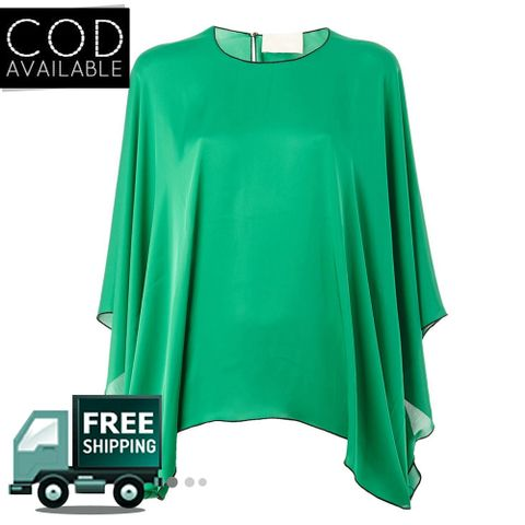 SunDish Green Draped Sleeves Blouse