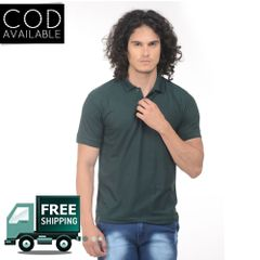 K-west Men's Green Solid Polo T-Shirt