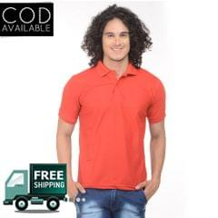 K-west Men's Red Solid Polo T-Shirt