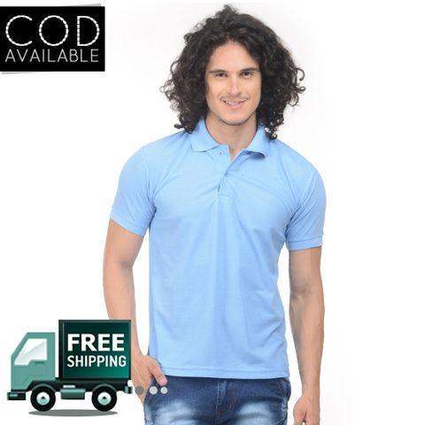 K-west Men's Sky Blue Solid Polo T-Shirt