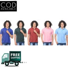 K-west Men's Combo of 5 Mulitcolor Solid Polo T-Shirt