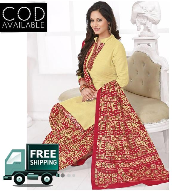 Vishnu Beige Color Pure Cotton Unstitched Salwar Suit