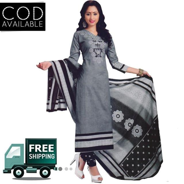 Vishnu Grey-Black Color Pure Cotton Salwar Suit