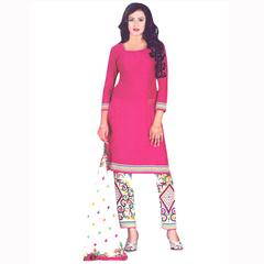Vishnu Pink Color Crepe Printed Salwar Suit