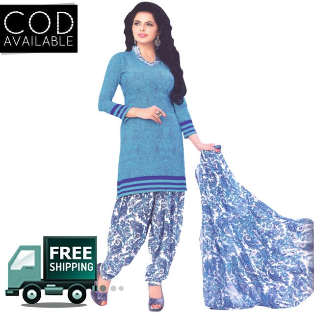 Vishnu Sky Blue Color Crepe Printed Salwar Suit