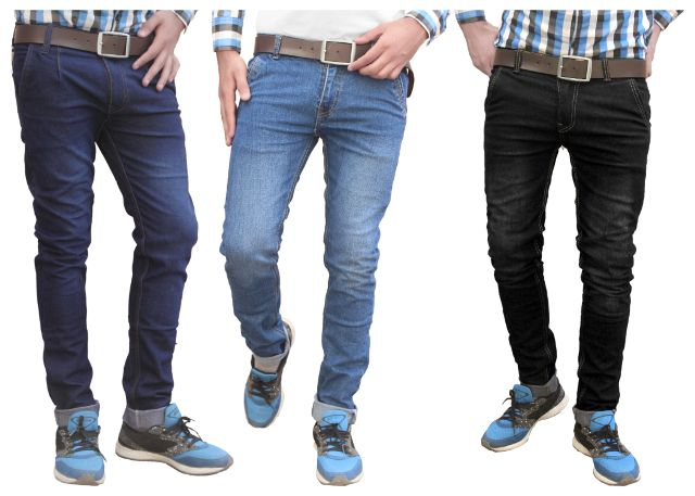 London Looks combo of 3 stretchable fashion slim fit jeans