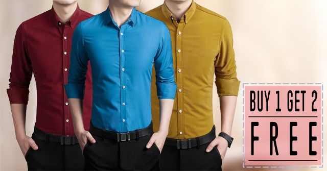 BRANDED MENS STYLISH PURE LINEN SHIRTS BUY ONE GET TWO FREE