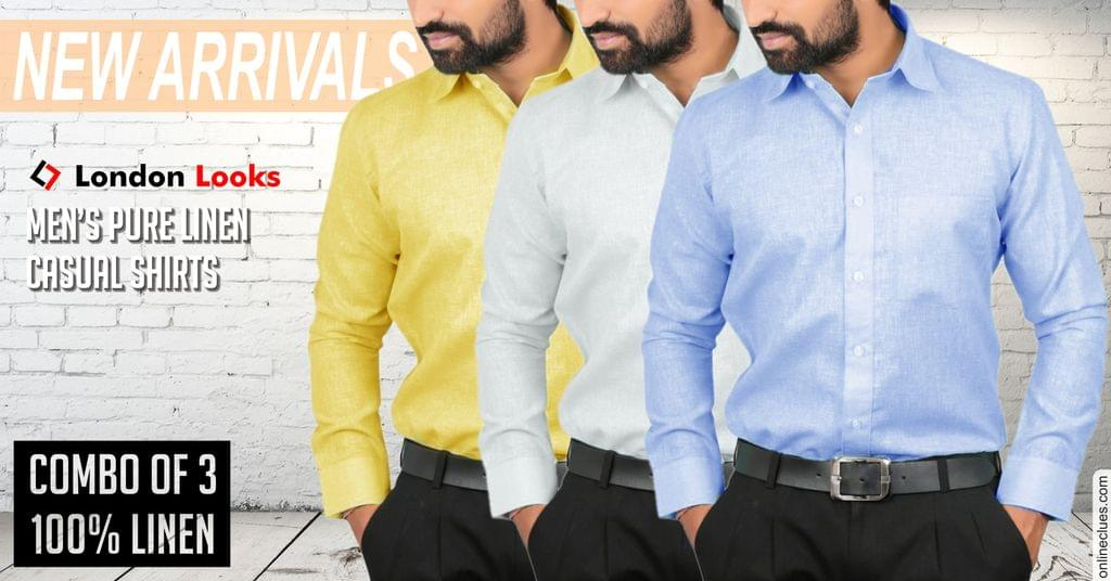 New Arrival Combo Of 3  Men's Pure Linen Casual Shirts