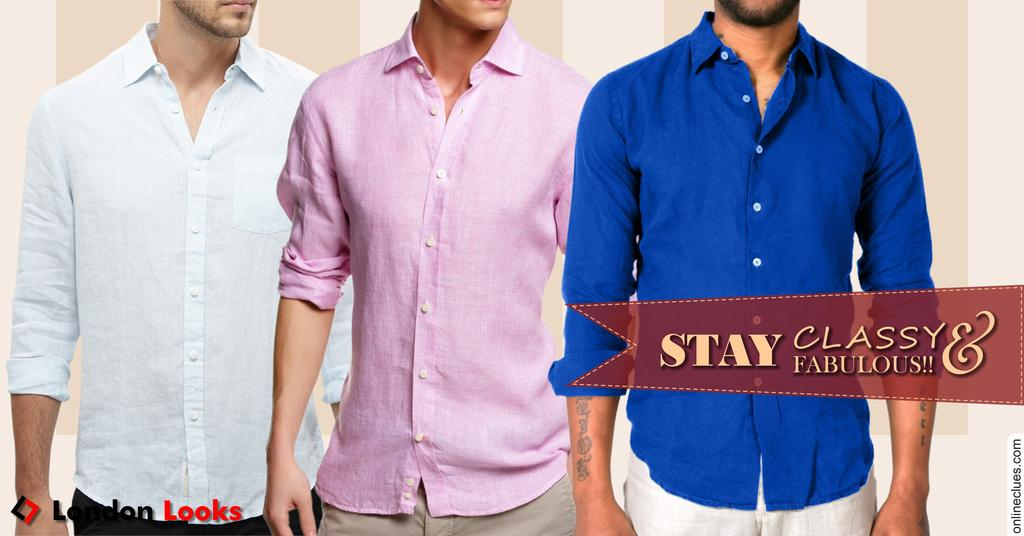 Combo Of 3 Supreme Quality linen Shirts !! 100% Linen !!