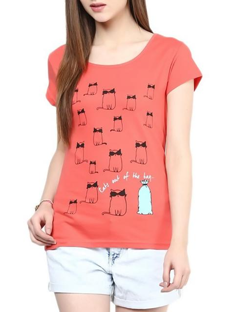 London Looks Women's Red T-Shirt Top