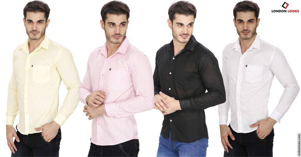 """London Looks 4 Pure Linen Shirts """"COMBO"""" Offer!"""